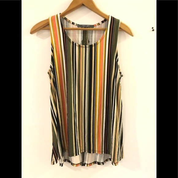 Coin 1804 LA. Striped tank top with keyhole back